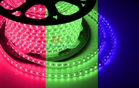 LED лента 220В, 13*8 мм, IP65, SMD 5050, 60 LED/m RGB